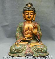 """17,2 """"Tibet Cloisonné Émail Violet Bronze 24k Doré Sakyamuni Bouddha Statue A3"""