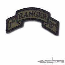 "OD New Wax Backed - Modern US 1st Ranger Battalion Scroll - 3 7/8"" x 2"" Merrowed"