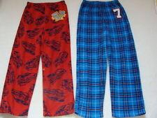 Boys Set of 2 Fleece Sleep Pants Size 6 8 Small Pajamas EUC Winter Pjs Race Car