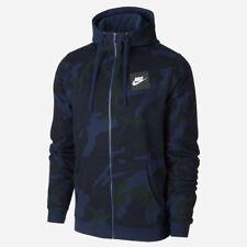 Nike Men's FZ AOP Fleece Lifestyle Full Zip Hooded 'camo' Obsidian Blue Hoodie M
