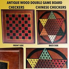 ANTIQUE WOOD DOUBLE CHECKERS & CHINESE CHECKERS 2 SIDED GAME BOARD