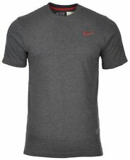 Mens Nike Cotton Crew T Shirts Sportswear/gym/casual Various Colours Size S-xxl L 410536 071 Dark Grey/red