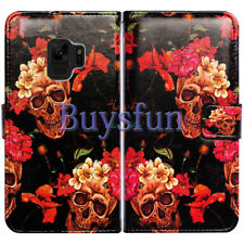 Bcov Flower Skull Pattern Leather Wallet Cover Case For Samsung Galaxy S9 Plus/+