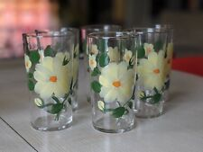 """6 Vtg Federal Glass Tumblers Hand Painted Flowers Yellow Wild Rose Gold Rim 5"""""""