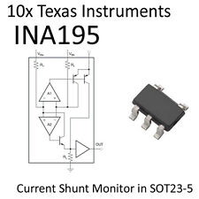 10x INA195 Current Shunt Monitor SOT23 TI On Tape