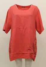 LA BASS WOMEN'S SPRING SUMMER LINEN PULLOVER POCKET SHIRT WATERMELON PLUS SIZE 1