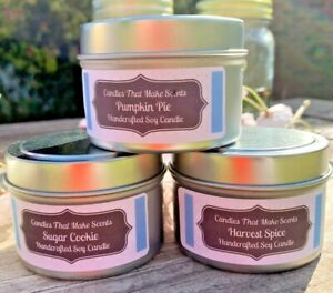 Handmade Soy Candles that smell AMAZING in 6 Oz or 8 Oz Tins