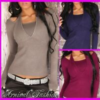 NEW SEXY size 8 10 12 WOMENS CASUAL JUMPER TOP LADIES 2 in 1 SWEATER blue S M L