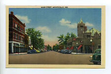 Monticello (White County) IN Indiana Main Street view, old cars, stores, linen