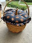 "Longaberger 1996 Little Pumpkin 7"" Basket Fabric Lid & Protector Combo Halloween"