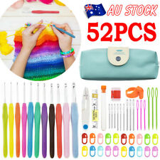 52PCS Knitting Needles Set Crochet Hook With Bag Soft handles Sewing Tools Grip