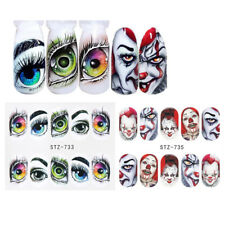 2 Sheets Halloween Nail Water Decals Gothic Clown Decors Transfer Stickers DIY