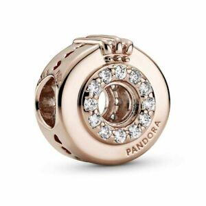 Genuine Pandora Rose Gold ALE MET Open Centre Pave Crown O Charm 789059C01