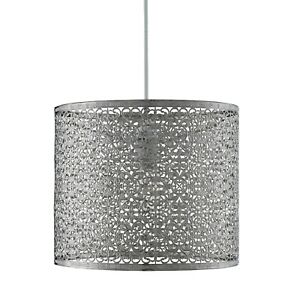 Lighting Collection Silver Chrome Metal Easy Fit Pendant With Intricate Pattern