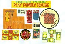 FISHER-PRICE #952 HOUSE ACCESSORIES REPLACEMENT LITHOS Stairs, Tables, TV, Grill