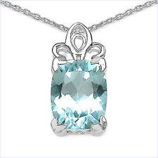 PRECIOSO 3,50 QUILATES Topacio Azul Colgante, Plata 925 ,collar,CADENA,RODIADO