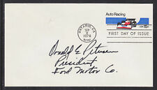 Donald Petersen, Ford Motors President, Signed Auto Fdc