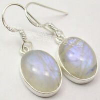 "925 Sterling Silver OVAL RAINBOW MOONSTONE FRENCH WIRE Earrings 1.2"" NEW ITEM"
