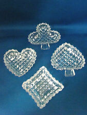 Vintage Poker Card Clear Crystal Glass Ashtray Set Heart Diamond Spade Club @5