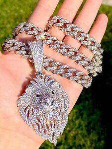 """Men's Ice Out Miami Cuban Chain 22"""" Diamond Finish 925 Silver Lion Head Pendant"""