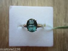Blue Fluorite Ring Platinum Overlay Sterling Silver Size 9