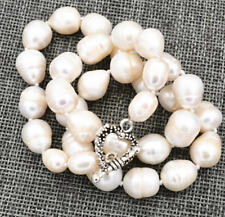 24'' Huge 10-12mm White Natural Rice-shaped Pearl Necklace Heart Clasp PN1176