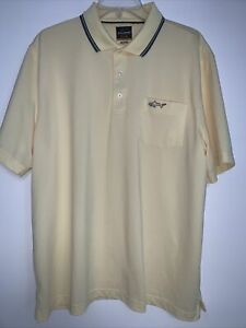 Greg Norman Golf Polo Short Sleeve Shirt Size Large Yellow Shark NWOT