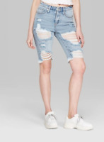 Wild Fable Women's High Rise Destructed Longline Jean Shorts NWT Free Shipping!