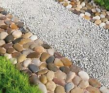 Natural Rock Garden Borders Pathway Mats w/ Real Stones Yard Decoration 4-PC Set