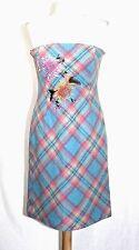 BCBG - 10 (M) - Embellished Multi-Color Plaid 80% Wool Strapless Mini Dress