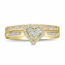 Ladies 10k Yellow Gold Diamond Engagement Ring Princess Wedding Band Bridal Set
