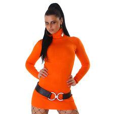 Sexy pullover lungo maglione a collo alto NUOVO Arancione vestitino 36/38