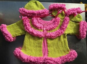 Handmade New  Pink & Green Loopy Detail Baby Cardigan Hat & Booties 0-3 mths