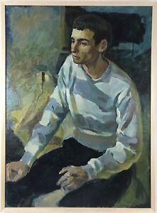 Large Original Oil  Vintage Painting, Male Portrait, Boy, Student, Framed