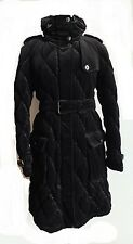 BURBERRY LONDON WESTFORD QUILTED BLACK VELVET PUFFER DOWN TRENCH COAT US 8 10 L