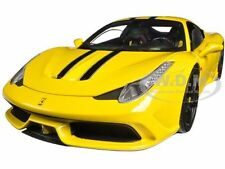FERRARI 458 SPECIALE YELLOW ELITE EDITION 1/18 DIECAST MODEL CAR HOTWHEELS BLY32