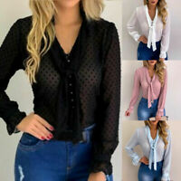 Womens Ladies Casual Tops Blouse V Neck Tie Long Sleeve T-Shirt Plus Size S-4XL