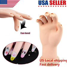 US Flexible Fake Hand Nail Art Training Display Movable Practice Nail Tool Model