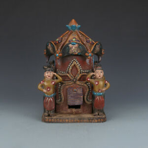 China TangDynasty Tri-coloured Glazed Pottery Colour Decoration Palanquin Statue