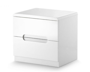 Manhattan White High Gloss 2 Drawer Bedside Table Free Delivery