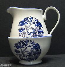 Willow Pattern English Fine Bone China Cream Jug & Sugar Bowl By Milton China