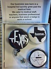 B & W TEXAS  THEME ~ Exchangeable System for Retractable Reel ID Badge Holder