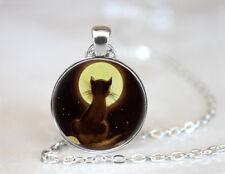 Black Cat Glass Necklace Vintage Moon Necklace charm Pendant