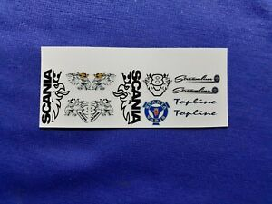 1:64 Scale Clear Waterslide Decals, Scania Set, Code 3, Brand New.