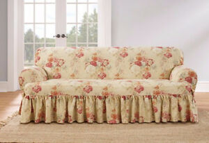 NEW Loveseat size Blush Sure Fit Ballad Bouquet  T-cushion slip cover slipcover