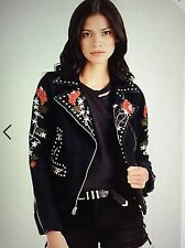 TRUE RELIGION WOMEN MOTO DENIM METAL STUD EMBROIDERY JACKET WC991YH6 NWT M $319