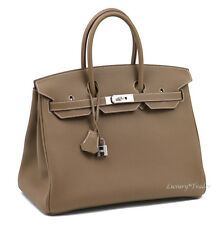 BNIB 2017 AUTHENTIC HERMES BIRKIN 35 ETOUPE TAUPE TOGO LEATHER PHW HANDBAG BAG