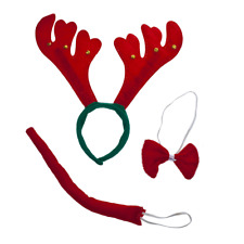 Headband Bow Tie Tail Costume Lux Accessories Festive Holiday Christmas Reindeer