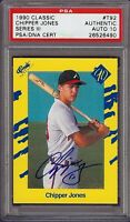 Rare 1990 Classic #T92 Chipper Jones Autograph Rookie RC Card PSA / DNA 10 HOF