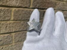 Iced Diamond Star Ring White Gold Plated Pinky Size 7/8